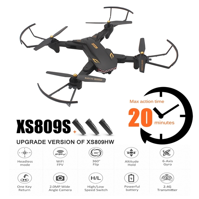 XS809S RC Drone 720P WIFI FPV With Wide Angle HD Camera Foldable Drone Long Time Flying Rc Helicopter VS VISUO XS809HW XS809W