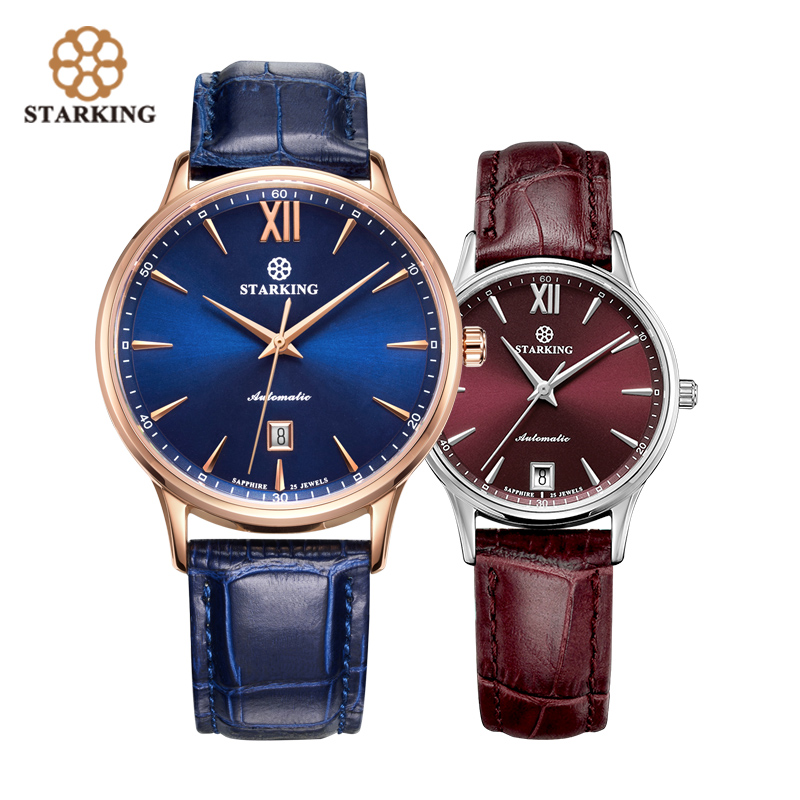 STARKING Fashion Couple Watches Mechanical Automatic Self-wind Lovers Watch 5ATM Waterproof Sapphire Crystal Wristwatch AM/L0239