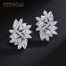 ФОТО feerow new arrival trendy flower shape clear aaa cz diamond with platinum plated stud earrings for women party fwep480