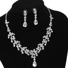 Bride Wedding Jewelry Sets for Charm of Women Silver Crystal Fashion Rhinestone Necklace Earrings Sets of Chain Party Gift a suit of graceful rhinestone faux turquoise necklace and earrings for women