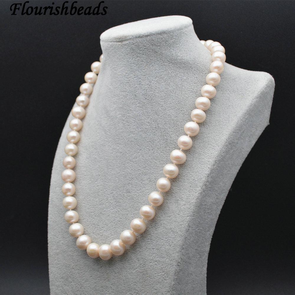 Haute qualité naturel eau douce perle 10mm perles rondes noué collier mode femme bijoux