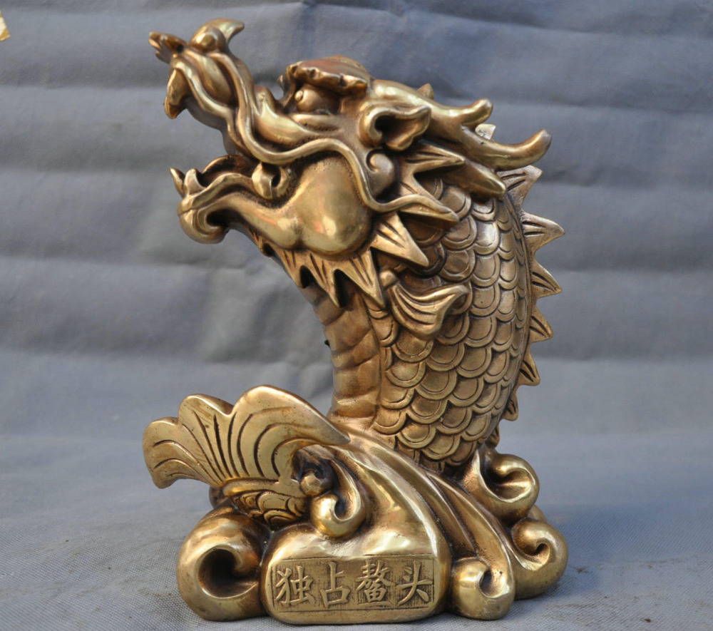10 Chinese Fengshui Bronze Kylin Dragon Beast Head Statue 10 Chinese Fengshui Bronze Kylin Dragon Beast Head Statue