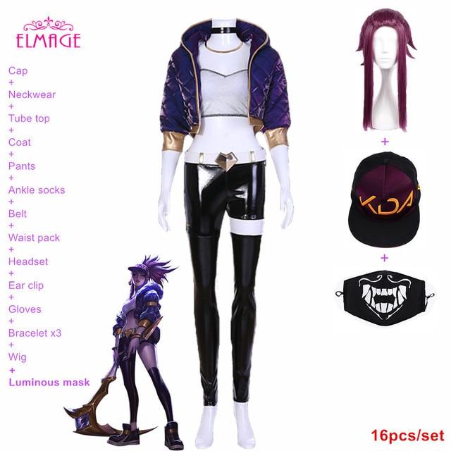 16pcs Kda Akali Cosplay Costume Lol Kda Cosplay Lol Rogue Assassin