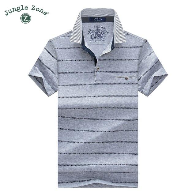 8939318300cf JUNGLE ZONE men's T-shirt brands stripe short-sleeved t-shirt lapel men  tshirt Men's business casual t shirts Free Shipping 1611