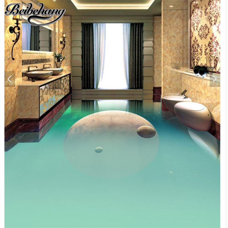 beibehang Custom self-adhesive pvc waterproof 3d floor painting brilliant simple space planet toilet corridor aisle 3D floor toilet time floor golf game set