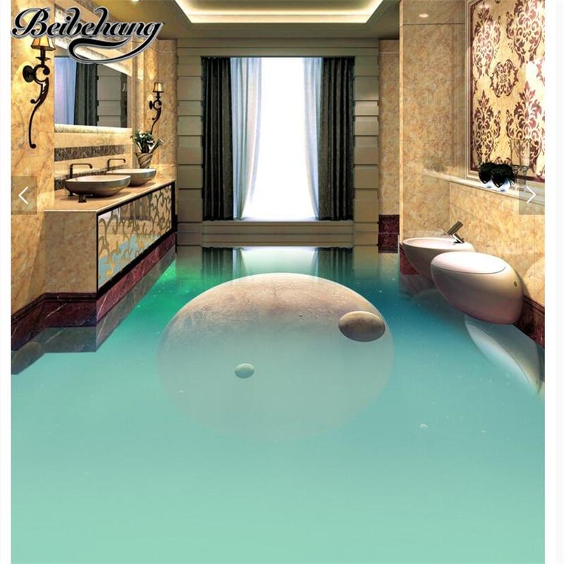 beibehang Custom self-adhesive pvc waterproof 3d floor painting brilliant simple space planet toilet corridor aisle 3D floor