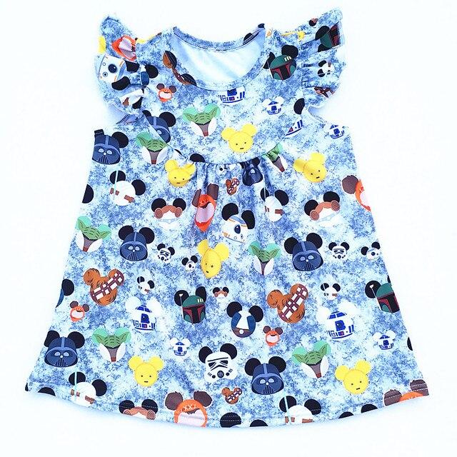 Baby Girl Cartoon Mickey Minie Head Children Clothing Set Summer Child Kids Milk Silk Top Matching with Cotton Ruffle Shorts 2pc