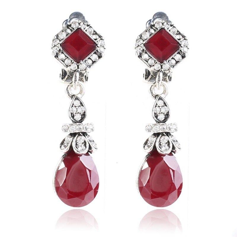 HOMOD Trendy Vintage Silver Color Black Earring Clips No Pierced Ear Clips Earrings Women Long Crystal Earings Red Dangle
