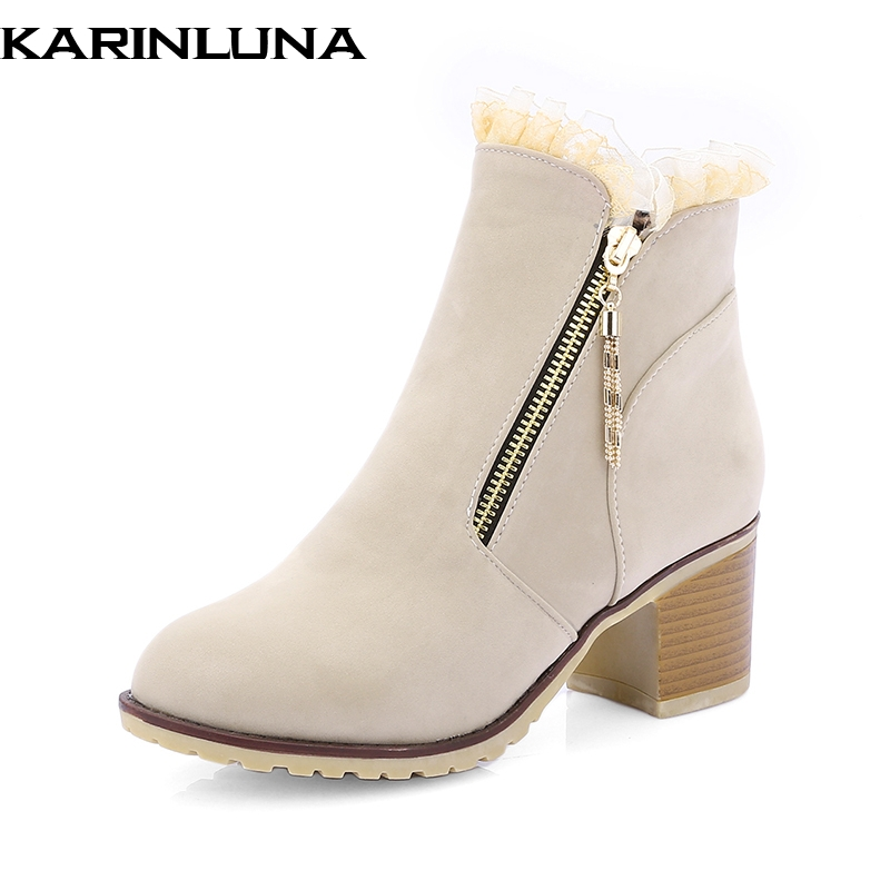 KarinLuna on sale cow suede large size 33-43 Black zip up Ankle women Boots Woman chunky heels Shoes Woman spring autumn boots sarairis 2018 spring autumn punk mixed color ankle boots lace up rivet colorful shoes woman short plush large size 33 43 lady