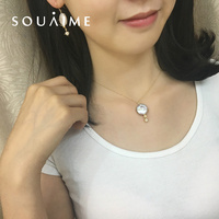 SOUAIME 14k Gold Pearl Necklace Infusion Natural Freshwater Pearl White Baroque Hand Wound Made Homemade Star Necklace 45cm