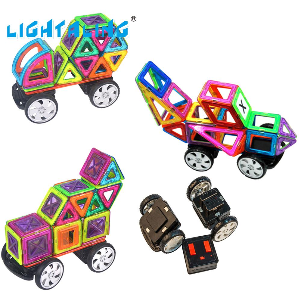 ФОТО Lightaling RC Toys Magnetic Designer Remote Control Car 89pcs Building Blocks Magnet DIY Electronic Toy