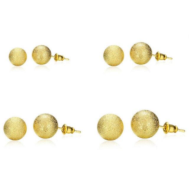 c9497d2e0 New Gold Dull Polished Brass Ball Stud Earrings Men Girls Boys Earrings  Round For Men Women