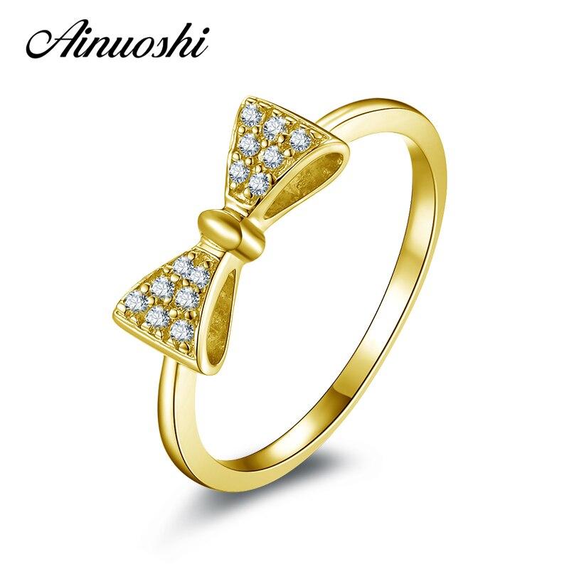 AINUOSHI 10K Solid Yellow Gold Engagement Ring Simulated Diamond Bowknot Shape Jewelry Wedding Engagement Rings for Women Gift sweet rhinestone openwork bowknot shape ring for women