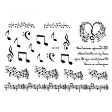 Black Music Notes Temporary Tattoo Stickers Fake Tattoo Body Art Flash Tattoos Tatouage For Girl Women Men