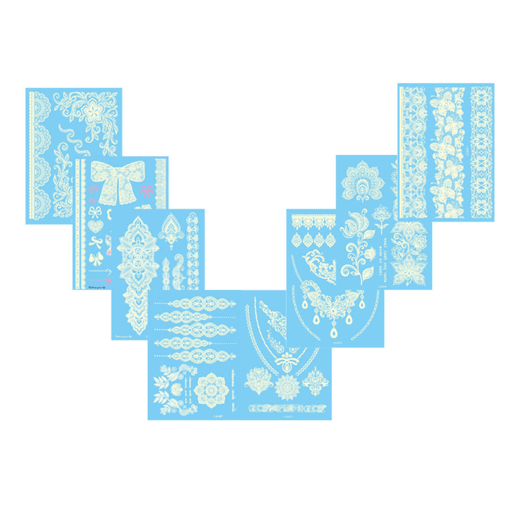 1 Piece Temporary Tattoo Sticker Water Transfer Wing: 1 Pc Beautiful White Lace Stickers Water Transfer