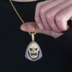 Image 5 - חדש אופנה אייס מתוך Skeletor תליון שרשרת עם טניס שרשרת נחושת היפ הופ זהב כסף צבע Mens/נשים קסם תכשיטי שרשרת
