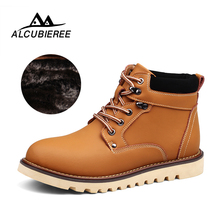 New Fashion Leather Men Boots Spring Autumn And Winter Men Shoes Ankle Boot Men's Snow Boot Shoe With Fur Work Big Size 38-46