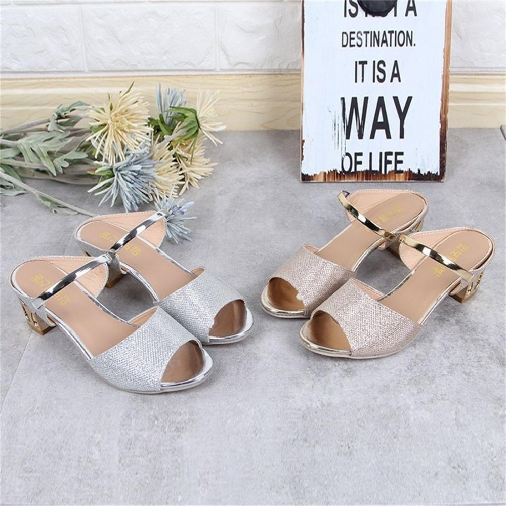 2019 Sexy Women Casual Square High Heeled Peep Toe Sandals Lady Soft Leather Platform Metal Gold Open Ankle Strap Female Sandal in High Heels from Shoes