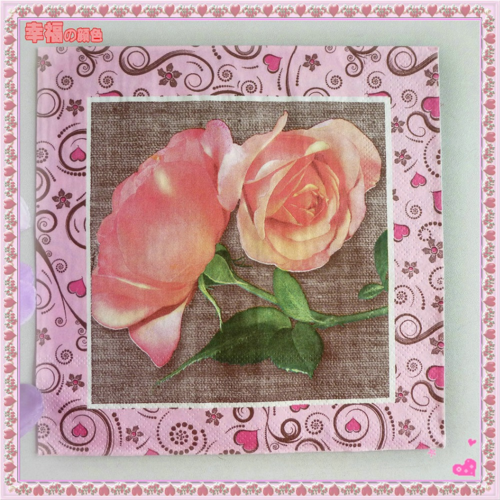 இTable paper napkins tissue handkerchief towel pink rose love ...