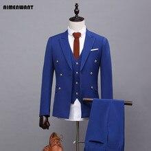 Aimenwant Блейзер весенний синий костюм из 3 предметов британский джентльмен двойные приталенные пиджаки Индивидуальный размер пиджак в деловом стиле наборы в подарок