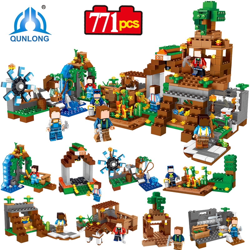 Qunlong Toy Minecrafted Figures Building Blocks 8 in 1 My World Estate House Bricks For Kid Compatible With Legoe Minecraft City 2 sets jurassic world tyrannosaurus building blocks jurrassic dinosaur figures bricks compatible legoinglys zoo toy for kids