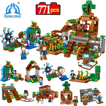 Qunlong Toy Minecrafted Figures Building Blocks eight in 1 My World Estate House Bricks For Kid Compatible With Legoe Minecraft City