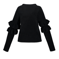 Sisjuly Women S Casual Sweater 2017 Autumn Winter Solid Black Full Sleeve O Neck Sweater Butterfly