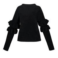 Sisjuly Women S Casual Sweater 2017 Autumn Winter Solid Black Full Sleeve O Neck Sweater Butterfly