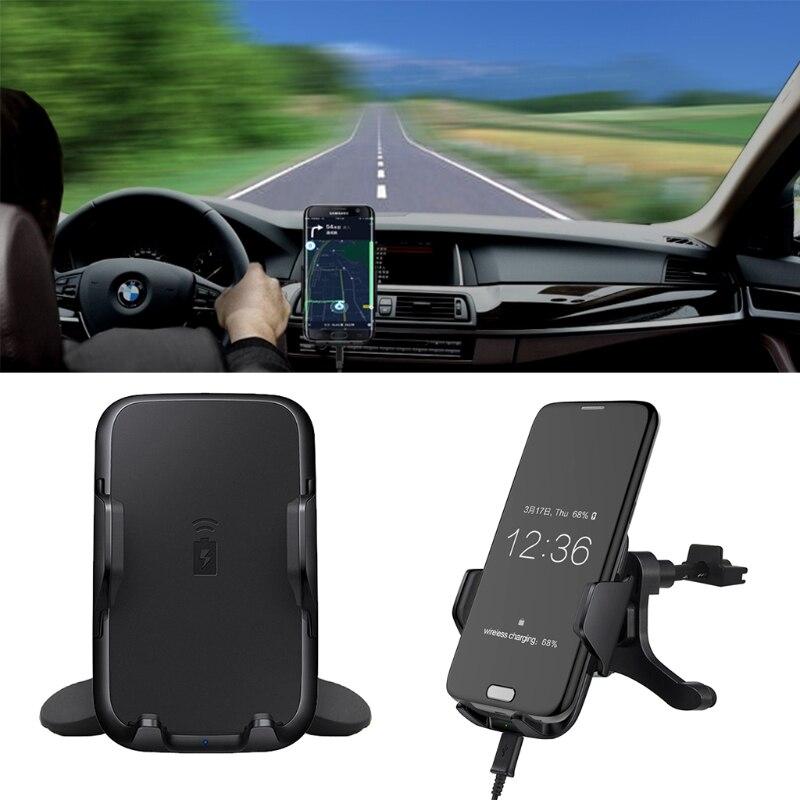 bilder für Qi Drahtlose Auto Schnell Ladestation Dashboard Air Vent Halterung Für Samsung S7 Telefon-R179 Drop Shipping