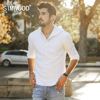 SIMWOOD 2017 Spring Summer Thin Hoodies Men 100 Pure Linen Sweatshirts Fashion Slim Fit Brand Clothing