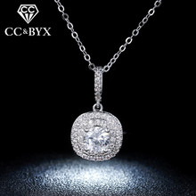 Square Zirconia Pendents Necklaces For Women White Gold color Vintage Bijoux Femme Fashion Jewelry N012