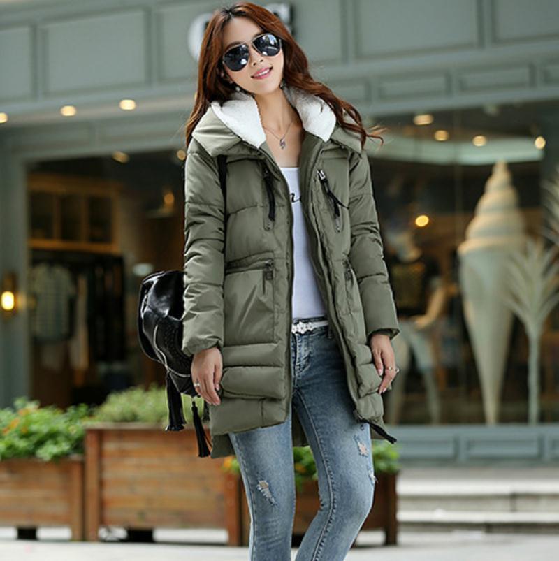 New 2017 Winter font b Women b font Wadded Jacket Red Female Outerwear Plus Size XXXL