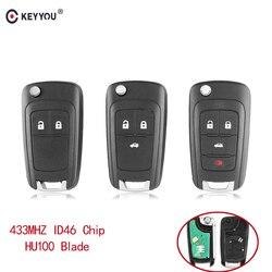 KEYYOU 2/3/4 Buttons Flip Folding Remote Car Key Fob For Chevrolet Cruze Malibu Aveo Spark Sail orlando Key 433MHz ID46 Chip