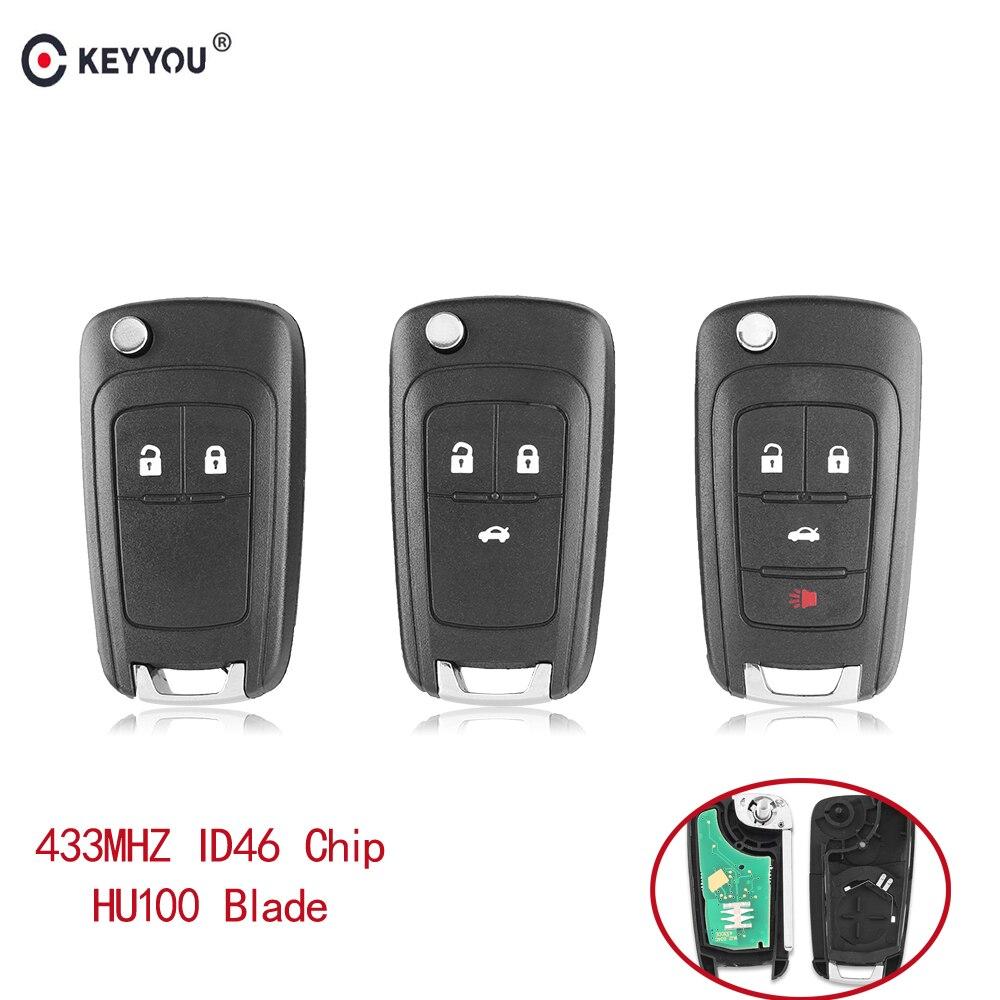 KEYYOU/2/3/4 botones de control remoto clave Fob para Chevrolet Cruze Malibú Aveo chispa navegar orlando clave 433 Mhz ID46 Chip