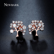 NEWBARK Flurishing Tree Design Stud Earrings Different Sizes Round CZ Paved Hot New Fashion Earrings Women Jewelry