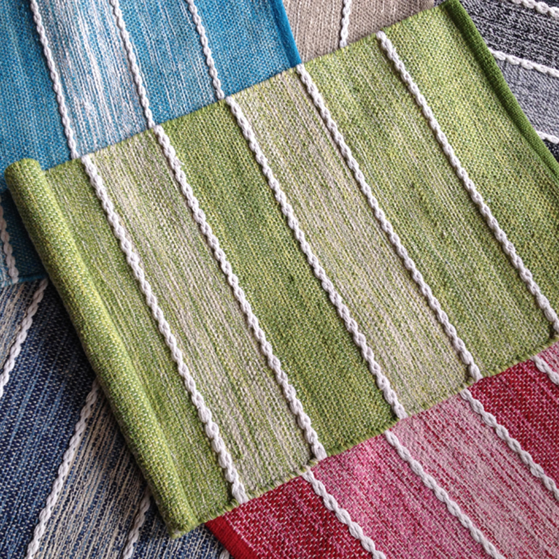 Thin Hand-Woven Washable Non-Slip Carpet Rectangle Striped Pattern Bath Rug For Bedroom Living Room Home Decorator Floor Rug