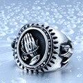 De aço soldado aço inoxidável Virgem Maria orar mão anel de moda sorte jóias