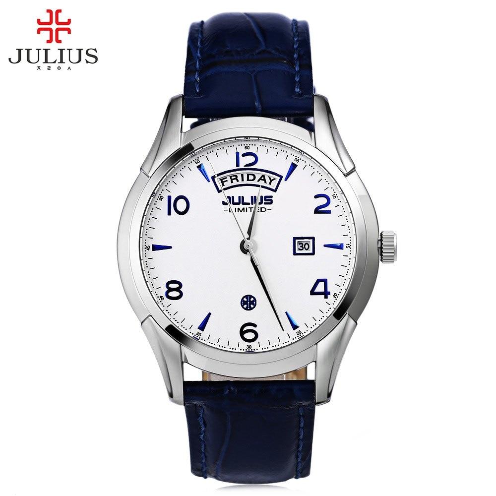JULIUS Men Quartz Watch Ultrathin Dial Calendar Leather Strap Watches Water Resistance Fashion Casual Wristwatch