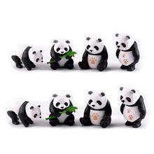 Figurines Miniatures Resin Pandas Garden Plant Flower Pot Bonsai Dollhouse Decoration Home Accessories