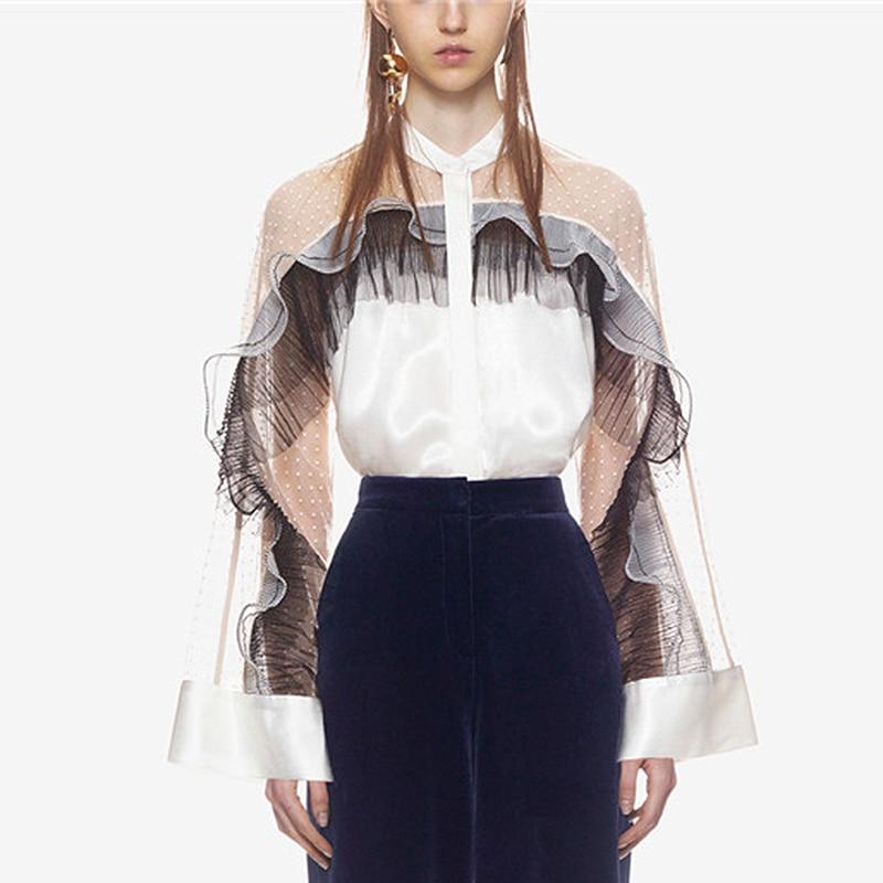 white lace women blouses ruffle top 2018 new shirt off shoulder long sleeve office lady sexy elegant oversized feminine blouses
