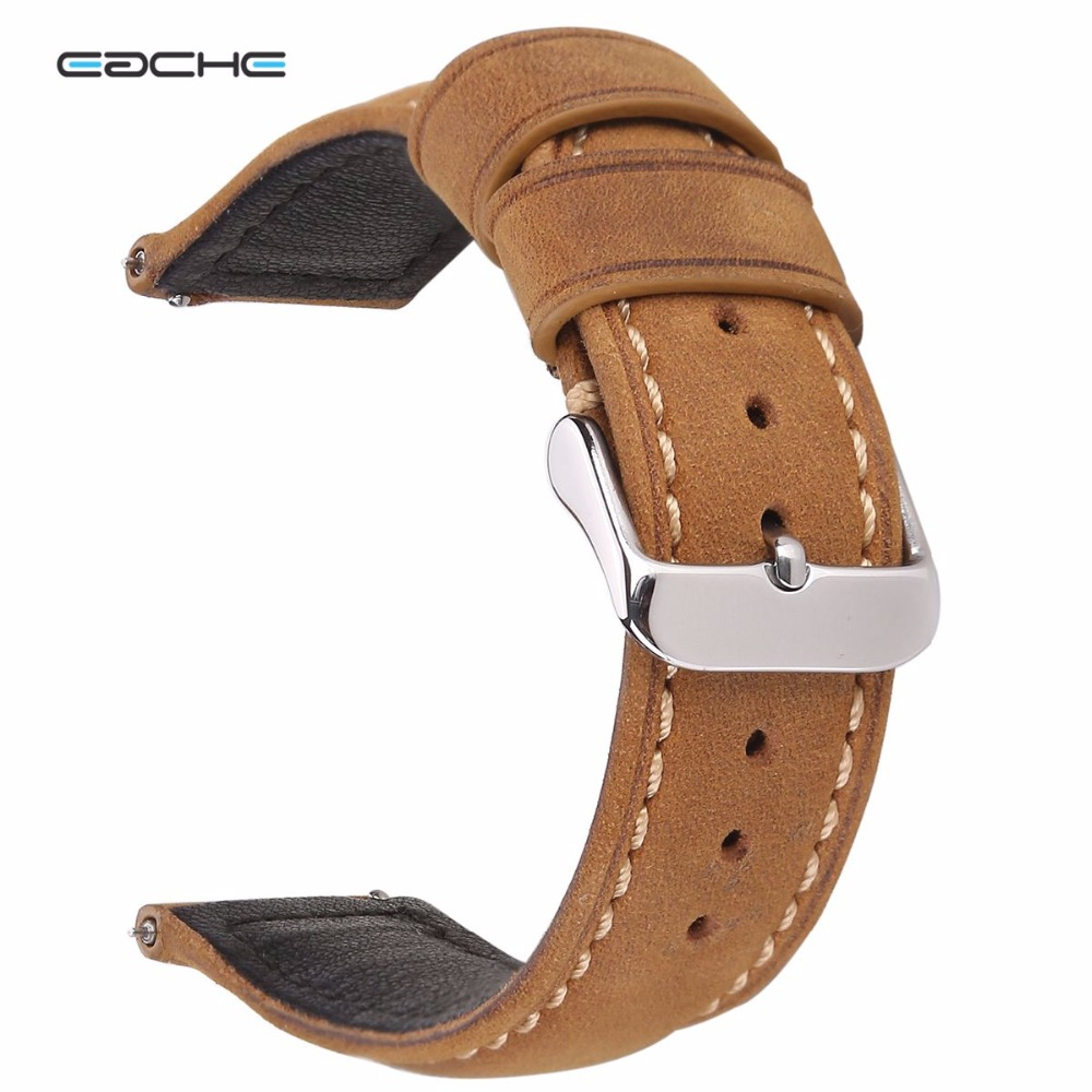 EACHE 20mm 22mm Genuine Leather Watch band Light brown dark brown Matte Retro leather Watch Strap with Quick Release Spring bar eache 20mm 22mm genuine leather watchband with retro matte leather watch band crazy horse watch strap quick release spring bar