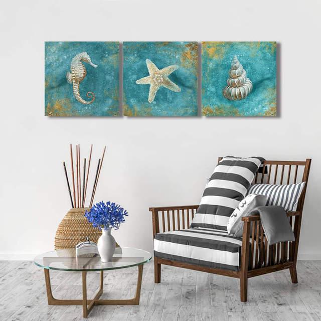 Sea Marine Life Starfish Shell Art Canvas Painting Ocean Animal Posters Modern Minimalism
