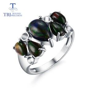 Image 1 - スターリングシルバー 925 マッチカラフルな黒オパールリングナチュラル梨宝石ファインジュエリー特別な記念日のギフト愛する人のために