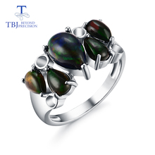sterling silver 925 match Colorful black opal ring natural pear gemstone fine jewelry special anniversary gift for loved ones