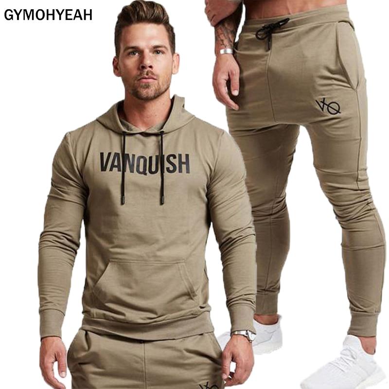 9e60f5bfa490 GYMOHYEAH Neue Mode Männer Set Lange Hülse Hoodies + Hosen Set Männliche  Trainingsanzug Im Freien Anzug
