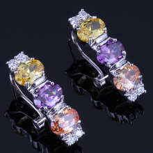 Trendy Oval Multigem Multicolor Brown Cubic Zirconia 925 Sterling Silver Clip Hoop Huggie Earrings For Women V0920