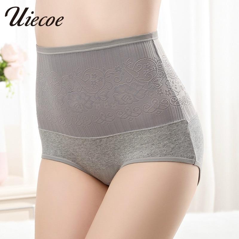 87021295d UIECOE Control Panties High Waist Slimming Sexy Lace Briefs Body Shaperwear  Underwear Lady Big size Women