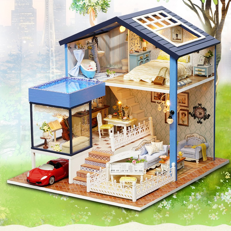 DIY DollHouse Miniature Doll house Furniture 3D Wooden House For Dolls Handmade Puzzle Toys For Children Birthday Gift A061 #E diy doll house with furniture house for dolls miniature dollhouse building kits wooden handmade model toys for children dg12 e