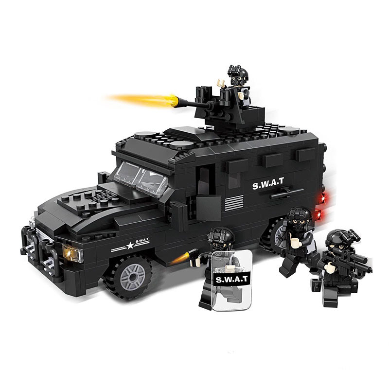 423 PCS Policewar Black Armored Car Model Building Block Sets HSANHE 6509 DIY Toys Compatible With LEPIN Educational Bricks Gift lepin 22001 pirate ship imperial warships model building block briks toys gift 1717pcs compatible legoed 10210