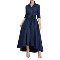 Women Dress Elegant Autumn 2018 Celebrity Casual Party Vintage Long Sleeve Fit Flare Irregular Ankle Length Pleated Tshirt Dress